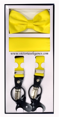 Suspender Combo Set (Bowtie & Hanky) Yellow