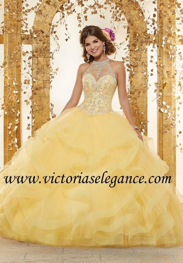 8bada33ef23 Rhinestone   Crystal Beading on Flounced Tulle Ball Gown Morilee 89230