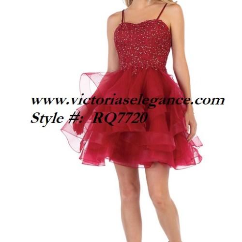Short red ruffled tulle dress, bridesmaid dress, dama's dress, prom gala pageant, sweet 16