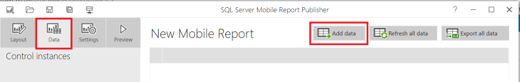 SQL Server Mobile Report Publisher - Add Data