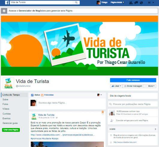 Página Facebook Vida de Turista