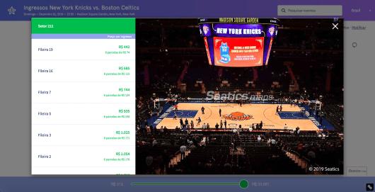 Seleção de assentos New York Knicks
