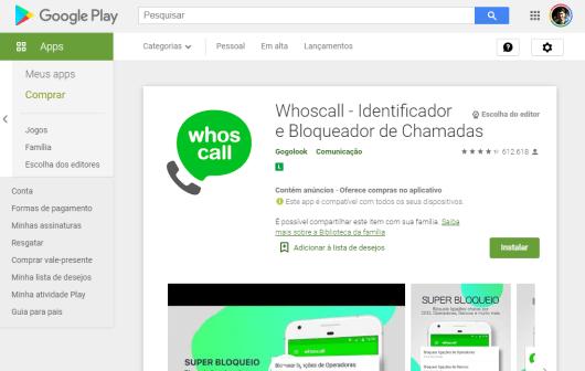 Aplicativo Whoscall para IOS e Android