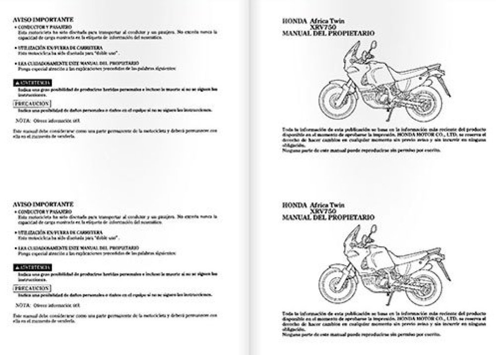Africa twin manual de taller y manual de usuario vida en for Manual de compras de un restaurante pdf