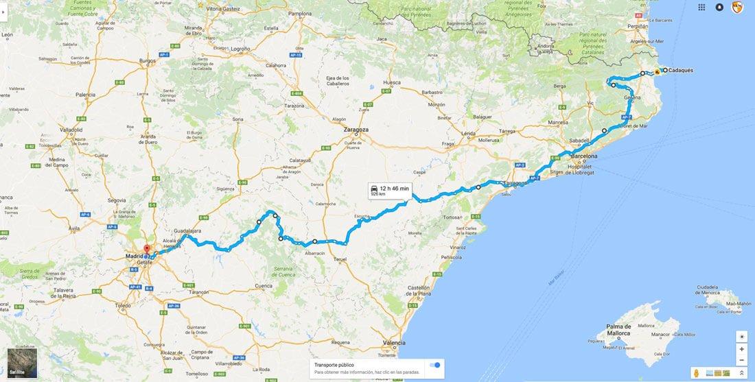 Cadaqués - Madrid en moto