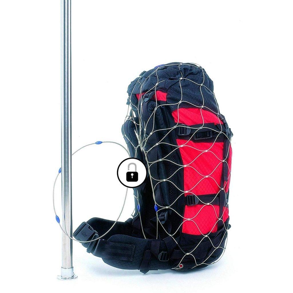 Pacsafe malla metálica para asegurar el equipaje