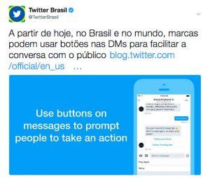 Twitter lança botões em Mensagens Diretas para facilitar comunicação entre marcas e consumidores