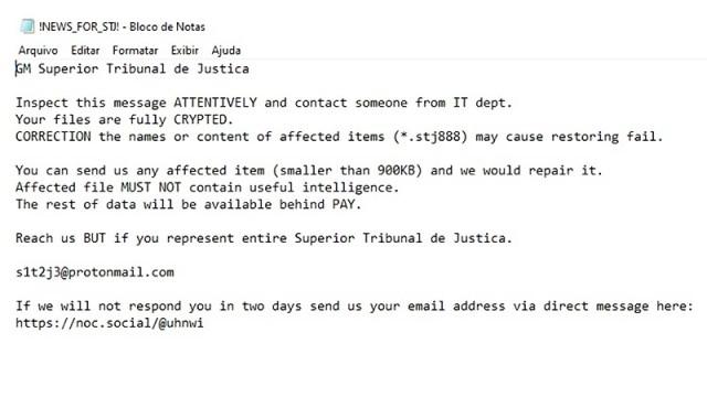 Hacker criptografou todos os processos e e-mails do STJ e cobra resgate do governo