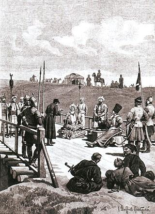 Н.Д. Дмитриев-Оренбургский. Переговоры о мире ханского посла Казы-Гирея и князя Хворостинина на мосту реки Сосны в 1593 году. Конец XIX века.