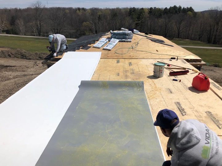 TPO Flat Roof installation - during