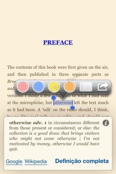Aplicativo Kindle - dicionário
