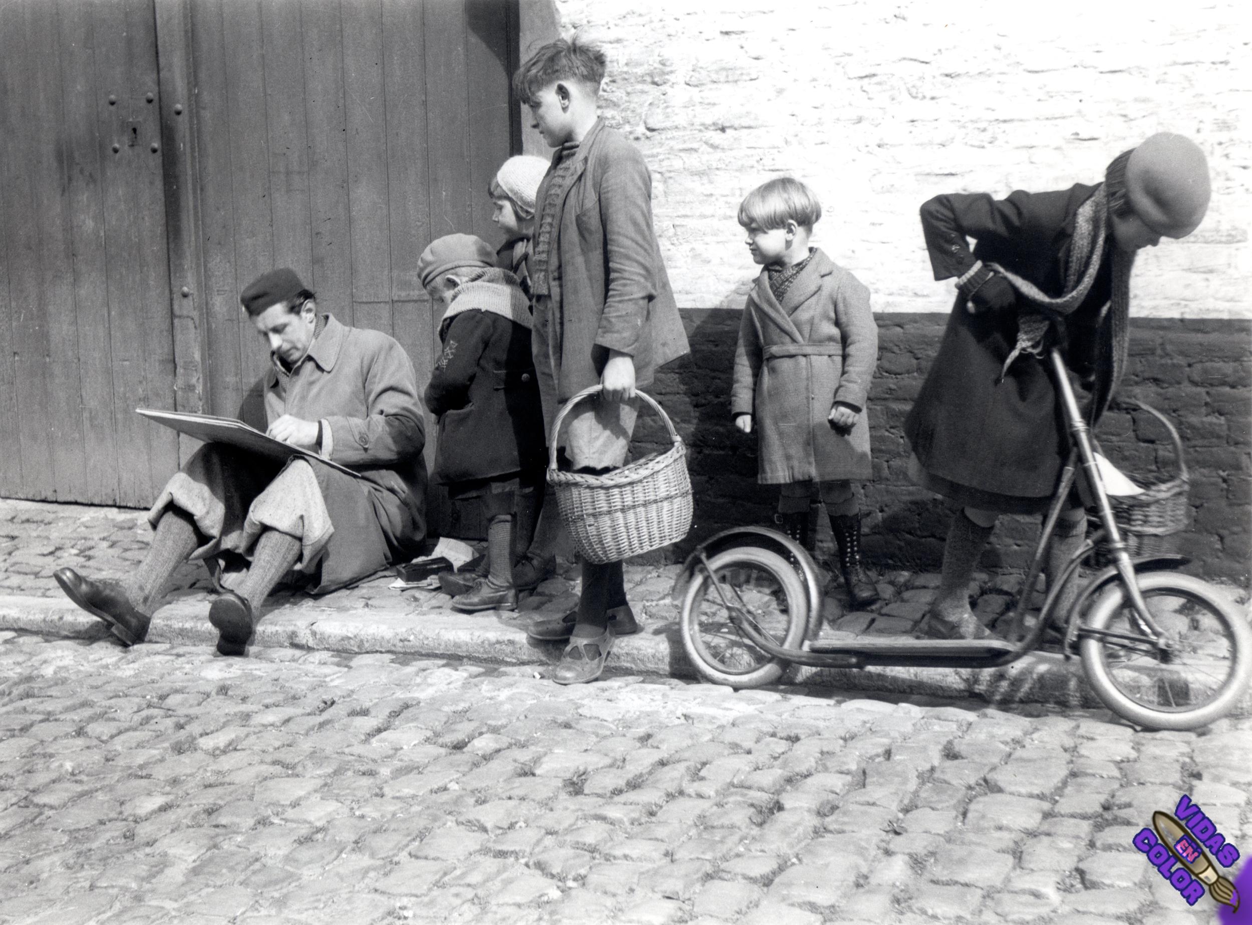 1936_avril_7_Lismonde_dessinant_eglise_de_Diest_photo_Leon_van_Dievoet_byn