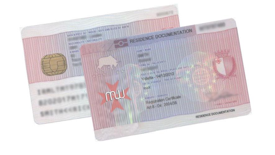 O  cartão de residente Maltês