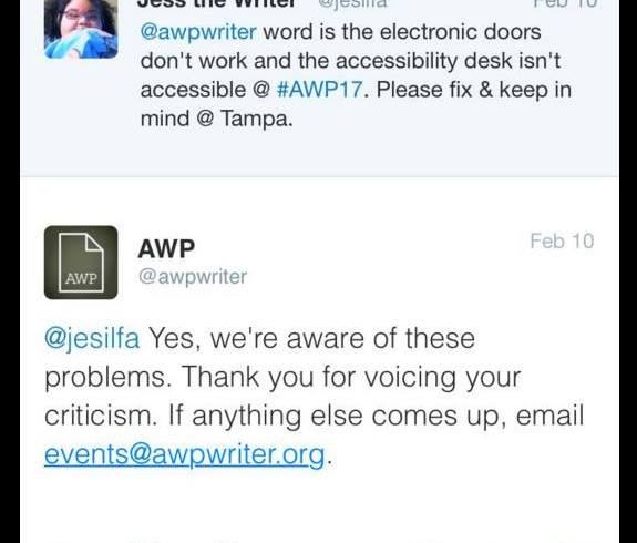 DISABILITY ACCESS AT AWP 2017 & IMPROVEMENTS: YOUR EXPERIENCES?
