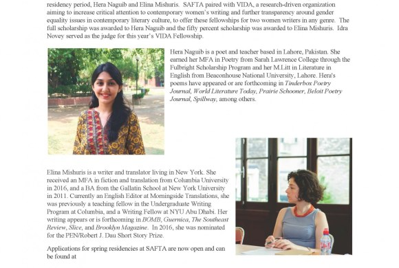 SAFTA's VIDA Fellowship Winners