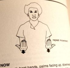 """A drawing of a person signing with their palms facing up and arrows pointing down. A description says """"repeat movement"""" next to it, and the words """"Now,"""" """"hands,"""" """"palms facing up,"""" on the bottom, with other words obscured or cut off"""