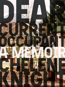 Cover of the book Dear Current Occupant. Text is overlaid onto a photograph of a residential area in Vancouver's East Side.