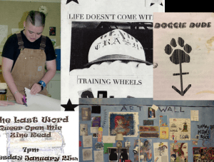 """Photo of a collage of author and hir early zine work. A young Sassafras wears tan overalls while cutting paper with scissors. A zine cover reads, """"Life Doesn't Come With Training Wheels,"""" below it is a photo of a community art wall."""
