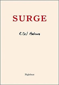 The cover of Surge, by Etal Adnan, from Nightboat Books. A plain pink cover with red and black text.