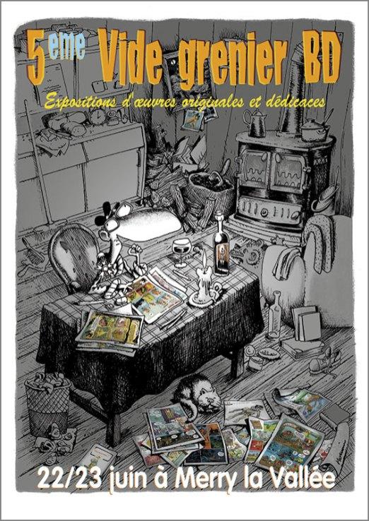 Affiche exposition Vide Grenier BD 2013 - Illustration Laurent Houssin