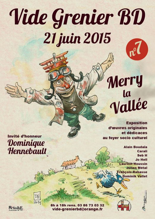 Affiche Vide Grenier BD 2015 - Illustration Dominique Hennebault
