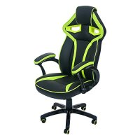 Merax Stylish Devil's Eye Series High-Back Gaming Chair PU Leather and Mesh (Green and Black)