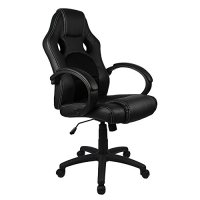 Homall Executive Swivel Leather Office Chair, Racing Chair High-back Gaming Chair Pu Leather and Mesh Bucket Seat,computer Swivel Lumbar Support Chair (Black)