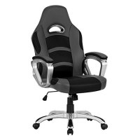 LANGRIA LROC-7243GY High-Back Racing Style Gaming Chair Faux Leather Ergonomic Computer Executive Office Chair with Padded Armrest, Adjustable Height, 360 Degree Swivel, Grey