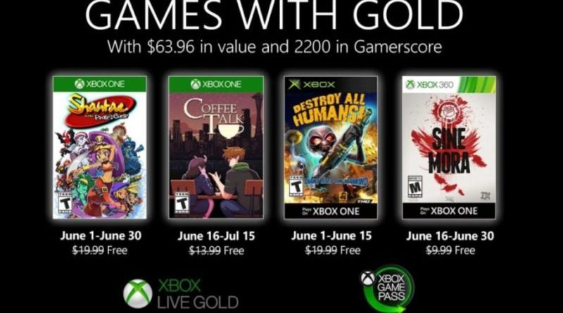 New Games with Gold for June 2020