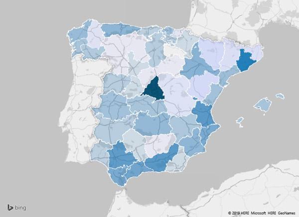 Figura 6. Mapa de las provincias donde más se venden videojuegos de segunda mano por internet