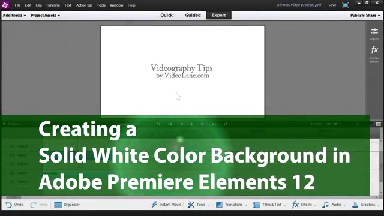 Create Solid White Color Background in Adobe Premiere Elements
