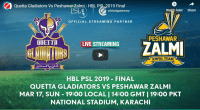 HBL PSL Final Quetta vs Peshawar 2019