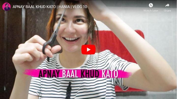 Hania Aamir Vlog Hair Cut Baal Khud Kato