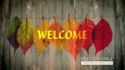 Fall Welcome Text And Leaves