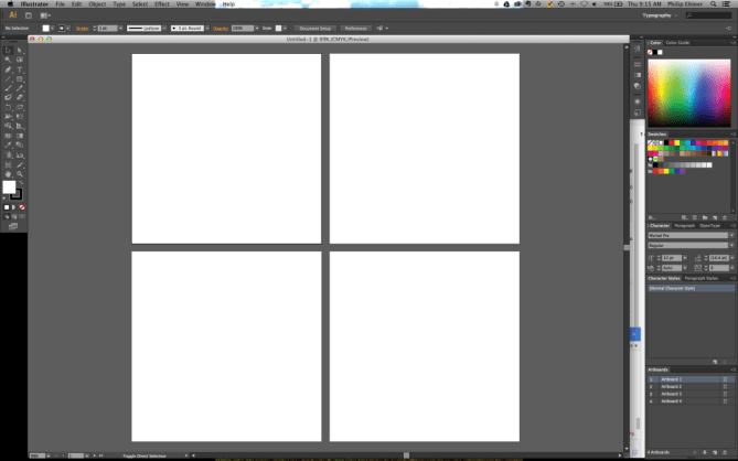 adobe illustrator project with 4 artboards