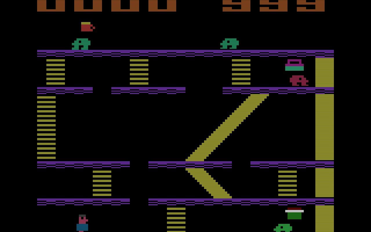 Miner 2049er, das 1982 von Tigervision produziert wurde, war ein klassisches Plattform-Spiel. Bounty Bob musste gegen den Sauerstoffverlust anlaufen, um alle 10 Minen vollständig zu inspizieren. (Bild: Tigervision)