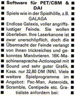 Eine zweite Anzeige aus dem Dezember 1982 (ebenfalls in der CHIP erschienen), geht mehr auf die Details von Galaga ein. (Bild: CHIP)