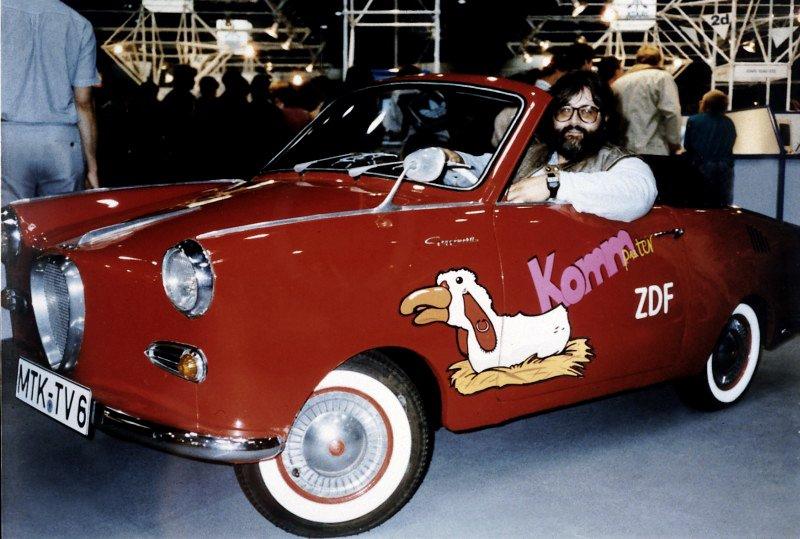 Klaus Möller im Goggomobil. Sendung Komm Puter vom 26.10.1989. (Bild: Copyright: ZDF und Look Video & Film Wiesbaden)