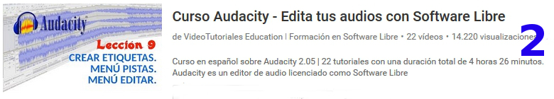 curso del software libre audacity en youtube