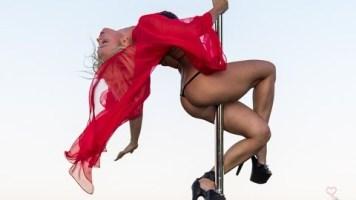 Anastasia Sokolova Performs At The Beach