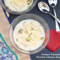 Ricotta Cheese Rasmalai | Instant Rasmalai
