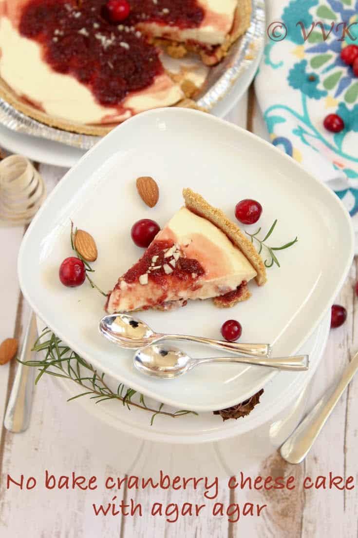 No Bake Cranberry Cheese Cake with Agar Agar   Thanksgiving Special