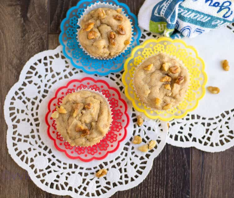 Eggless Apple Walnut Muffins