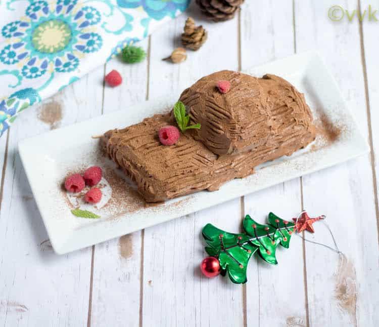 Eggless Yule log Cake