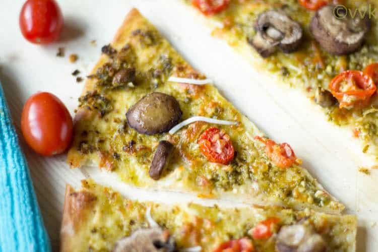 Pesto Pizza with homemade pizza dough