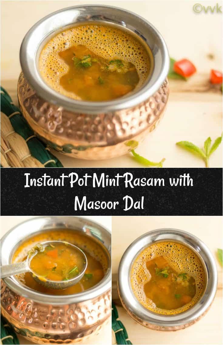 Instant Pot Mint Rasam with Masoor Dal