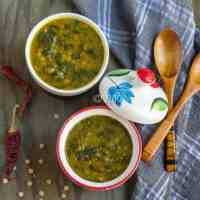 Instant Pot Green Lentils and Spinach Curry | Dal Palak