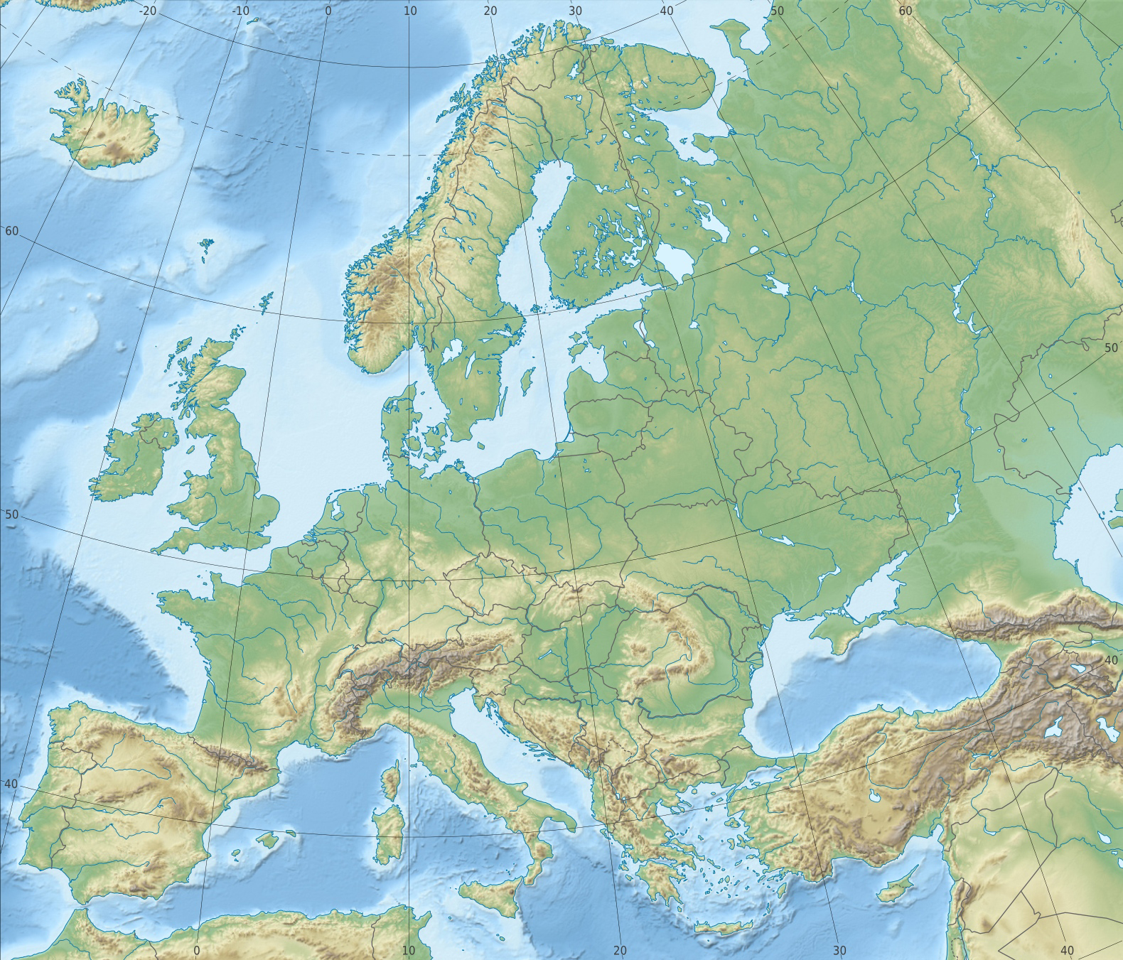 Relief Map Of Europe Mountain Ranges