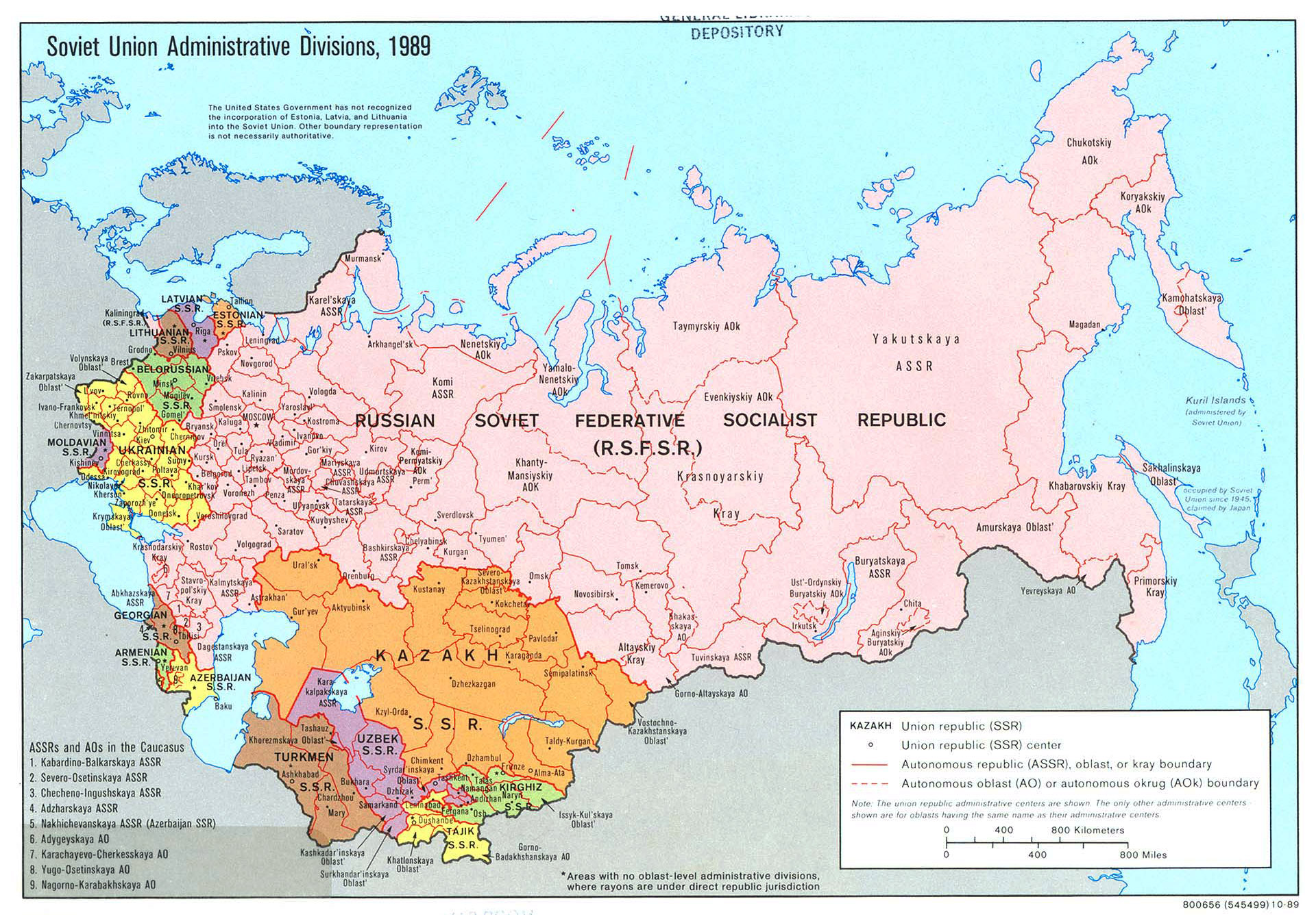 Large Detailed Administrative Divisions Map Of Soviet Union