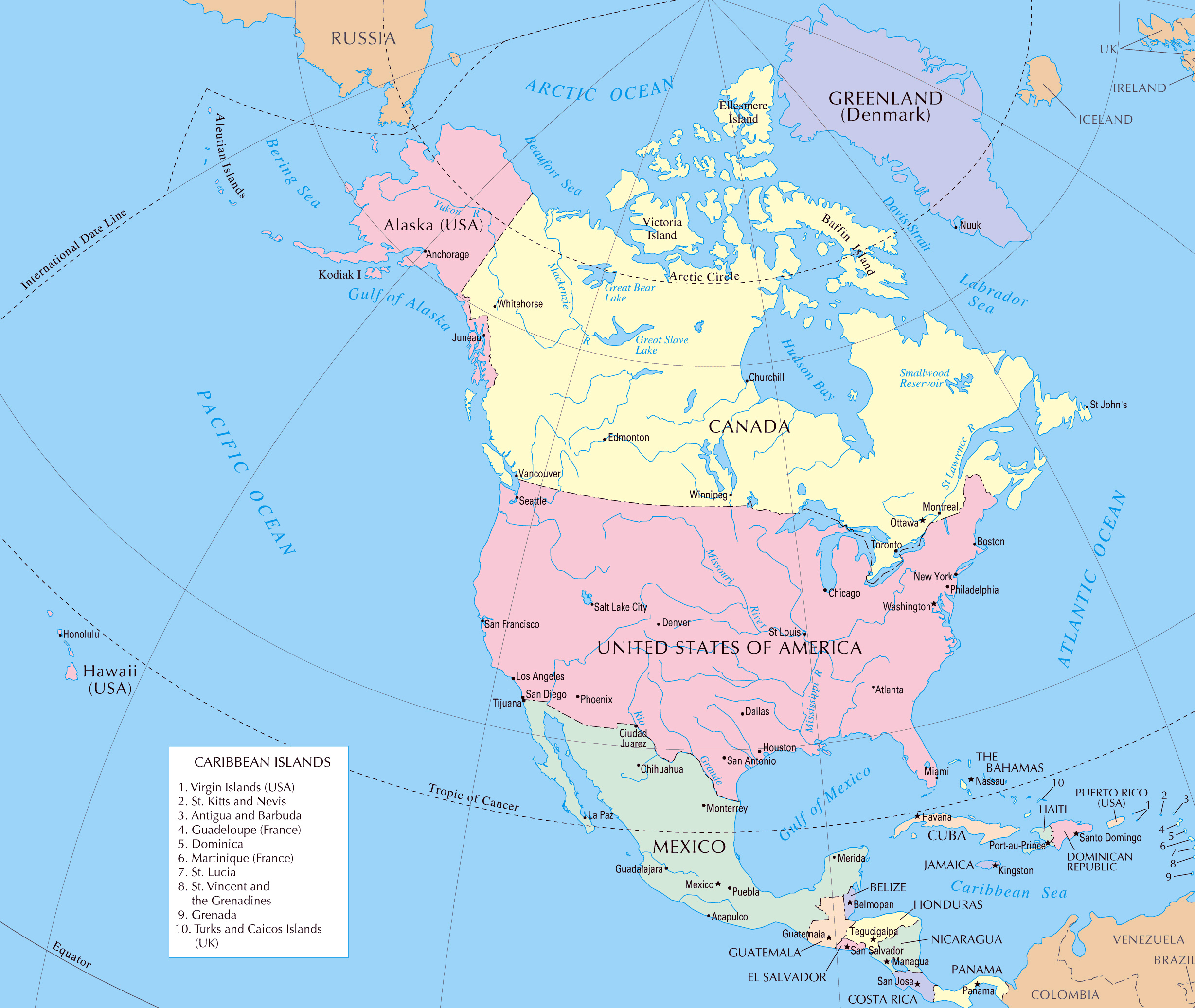North America Large Detailed Political Map With Capitals